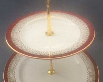Royal Grafton Majestic Red 2 Tier Cake Stand