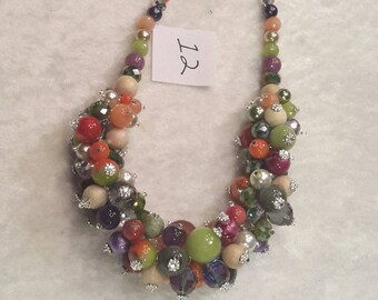 "Bubble Necklace 19.5"" with Fall Colors of Orange, Purple and greens with authentic stones and complimentary earrings"