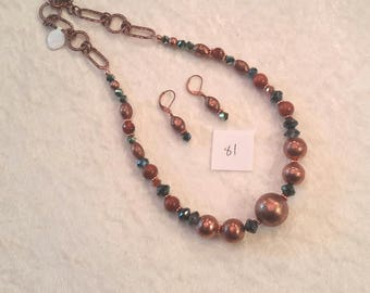 Large Copper beaded Necklace and Earring set