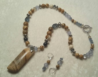"Picture Jasper 20"" Necklace and Earring Set that will class up any Outfit"