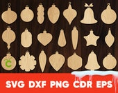 Christmas tree ornament svg, glowforge cricut silhouette cameov cut, Holiday laser cut wooden ornament bundle