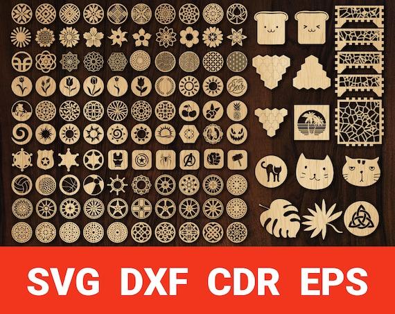 wood coasters svg Laser Cut Vector Template File Coasters SVG DIGITAL FILE