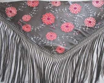 Hand-painted silk Mantoncillo.