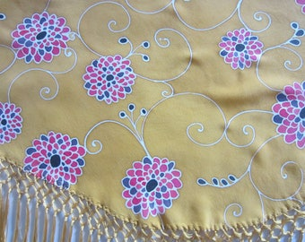 Hand painted natural silk Mantoncillo.