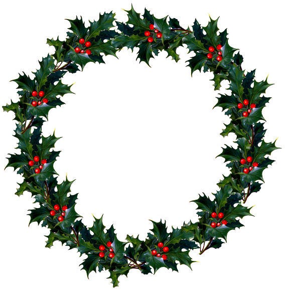 image about Christmas Wreath Printable named Common Wreath Holly Berry Wreath Printable Xmas Wreath Xmas Clipart