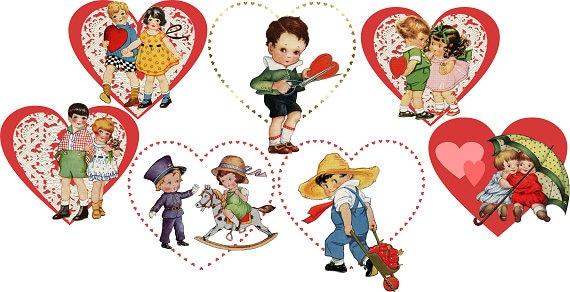 Vintage Valentine S Day Clipart Digital Clipart Retro Etsy