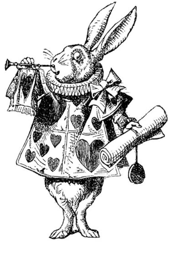Alice in Wonderland Rabbit Black White Clipart Vintage ...