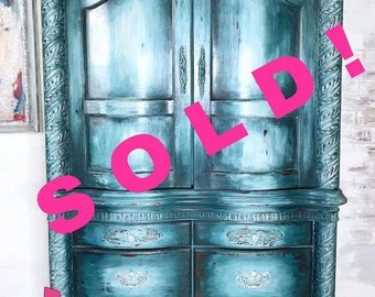 Boho chic armoire - distressed - gorgeous- deep teal,layered paint, clay based paint, chalk paint. 6'- carved details shepaintsshop