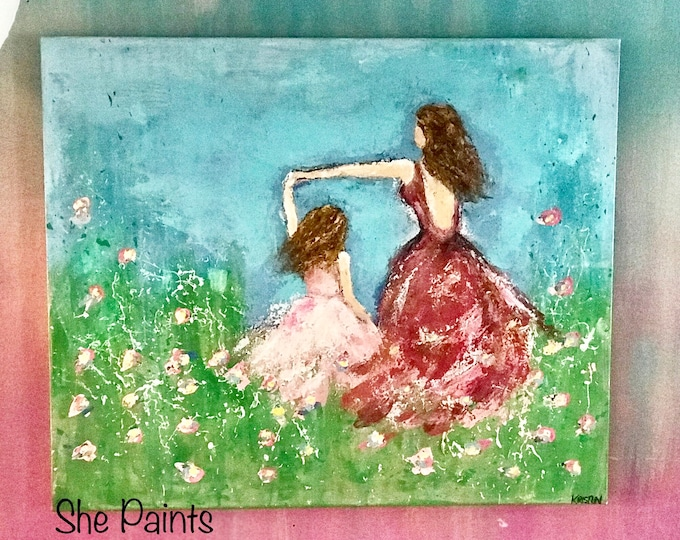 Featured listing image: Painted canvas - textured - dancing girls - flowers - acrylics - diy paint - art - mother and daughter - wall art - wall decor