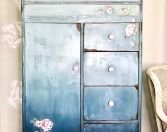 vintage waterfall wardrobe - painted - rustic chic - ombre - roses - farmhouse chic - distressed - armoire - modern farmhouse - traditional
