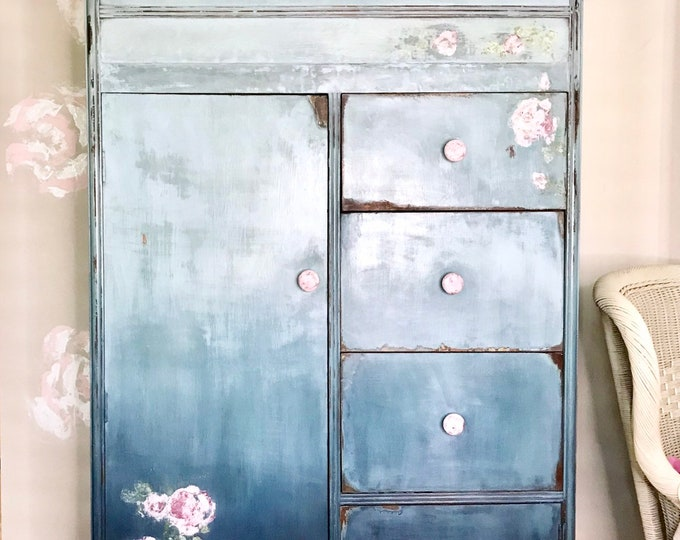 Featured listing image: vintage-wardrobe-painted furniture-boho-chifforobe- armoire - blended-blue-roses-IOD stamps-distressed-FREE SHIPPING
