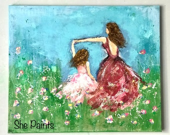 Painted canvas - textured - dancing girls - flowers - acrylics - diy paint - art - mother and daughter - wall art - wall decor