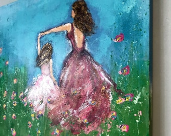 Custom Painted canvas 20x24  textured -portrait from photo acrylics -custom portrait - art - mother and daughter - wall art - art from photo
