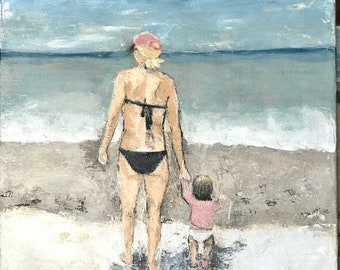 Custom painted portrait - 18 x 24 - from photo - family - textured painting - canvas - couples - child - vacation memories - beach