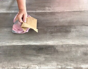 Diy FAUX RECLAIMED WOOD tutorial farmhouse table plank table chalk type paint clay based putty knife