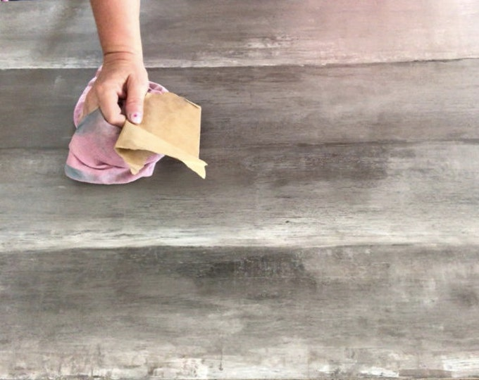Featured listing image: Diy FAUX RECLAIMED WOOD tutorial farmhouse table plank table chalk type paint clay based putty knife