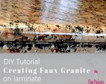 Faux Granite Painting Tutorial - DIY Countertop Painting - laminate - Home Improvement - Chalk/clay Paint Tutorials - ShePaintsShop