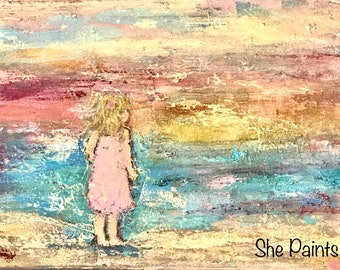 Painted canvas - customizable - beach baby - textured - acrylics - diy paint - custom - gold metallic - baby girl -granddaughter -daughter