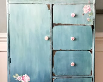 vintage-wardrobe-painted furniture-boho-chifforobe- armoire - blended-blue-roses-IOD stamps-distressed-FREE SHIPPING