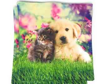 Decorative Cat&Puppy Cushion Covers - Set of Two Cushion Cover