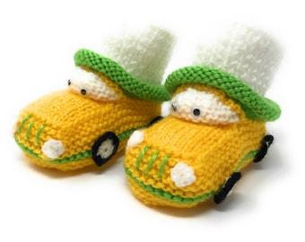 Handmade Baby Booties - Cars