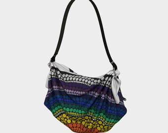 Rainbow Origami Tote Bag - Dot Painting - Mandala - BlinkitArt - Dot Work