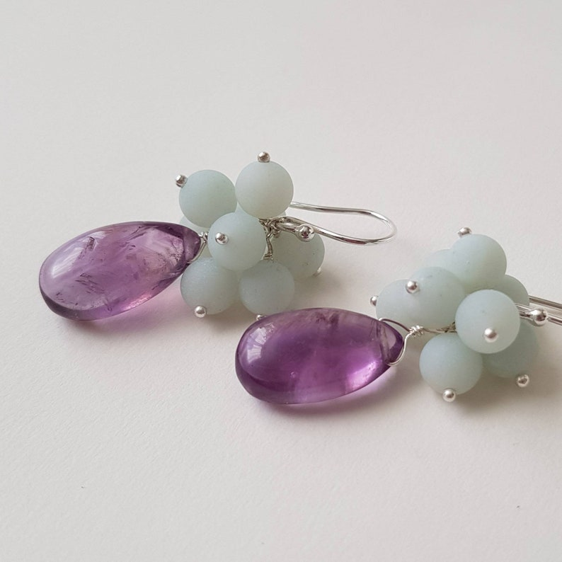 Sterling silver amazonite cluster and amethyst drop earrings matt and polished textures
