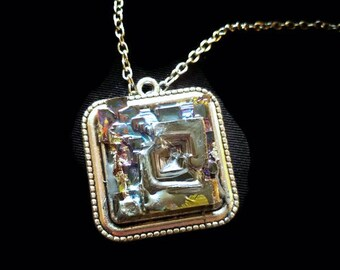 Bismuth necklace, statement necklace, crystal necklace, stone necklace, art deco jewelry, rainbow jewelry, purple necklace, boho necklace