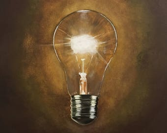 Original Acrylic Painting ,Enlightenment, 40 x 50, Painting on Canvas/ Lamp