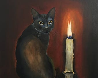 Original Acrylic  Painting ,Astonishment, 50 x 60, Painting on Canvas/ Cat/ Candle