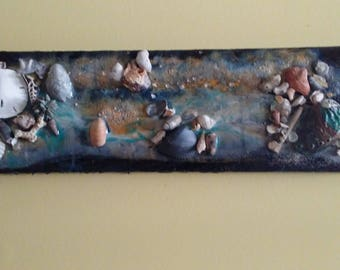 "Wall Art  Shells ""Stormy Ocean Shore"" Shell Wall Art/ Hanging  Collage"