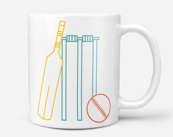 Cricket Mug, Sport Gift, Coffee Mug, Tea Mug, Cricket Lover Gift, Fathers Day Gift, Geometric Mug, Mugs for Sports Fans, Gift for Sports Fan