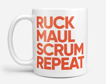 Rugby Mug, Coffee Mug, Rugby Fan Gift, Typographic Mug, Sports Mug, Sport Lovers Gift, Modern Mug