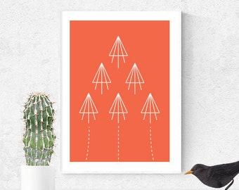 Planes Print, Modern Print, Office Wall Art, Nursery Art, Kids Art, A3 Print, Red Art Print, Fine Art Print, Airplane print, Modern Wall Art