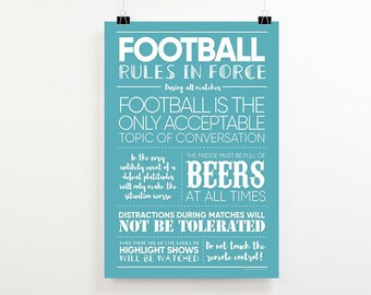 A3 Football Print, Football Art, Fathers Day Gift, Football World Cup Print, Gift for Football Fan, Soccer Poster, Football Gift