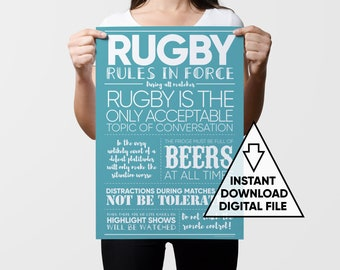 Rugby Print, Printable Gift, Sports Art, Rugby Art, Gifts for Men, Rugby Fan Gift, Sports Gift, Sports Decor, Rugby Dad