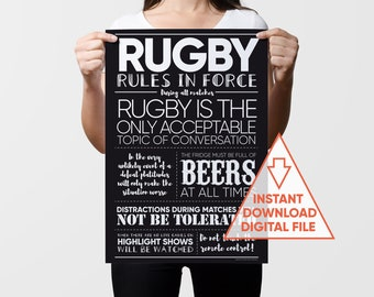 Rugby Art Print, Printable Gift, Sports Art, Rugby Art, Gifts for Men, Rugby Fan Gift, Sports Gift, Sports Decor, Rugby Dad