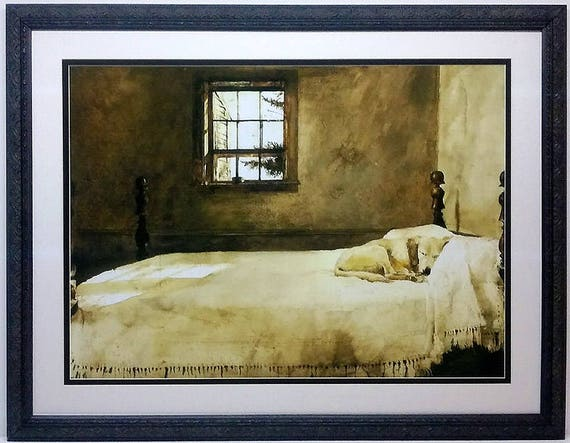 Framed Large Master Bedroom Picture of Dog on Bed Art by Wyeth