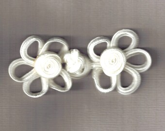 3 sets of Frog Fasteners in Cream 70x35mm