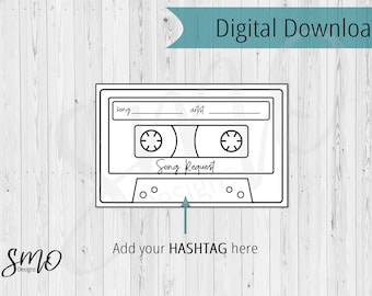 Song Request Card Wedding DJ Add Your Hashtag Celebration Planning Printable