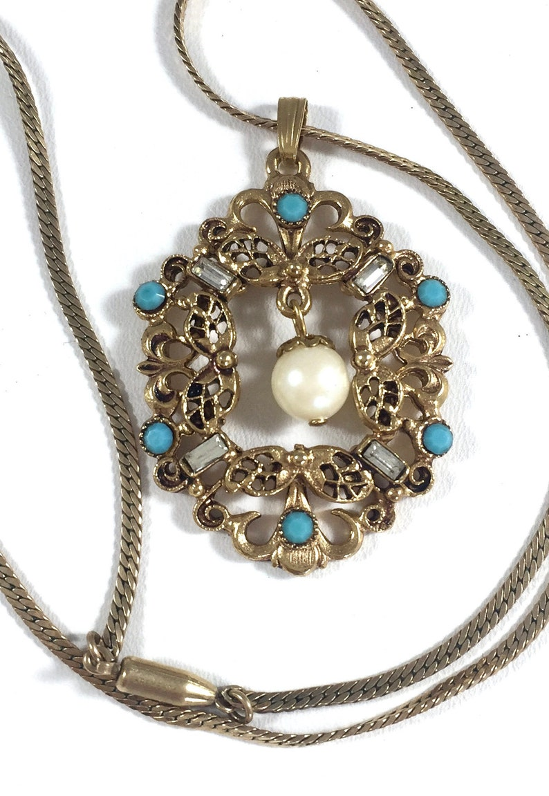 8d1f0083bd2ee Vintage Signed Florenza Pendant Necklace Antique Gold Tone Turquoise Seed  Beads Dangling Pearl / Vintage Costume Jewelry / Wedding Jewelry