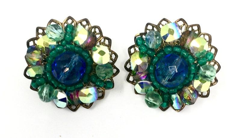 Vintage Kramer Blue Green Rhinestone Brooch Earring Set Gold Tone Metal Accents  Vintage Costume Jewelry