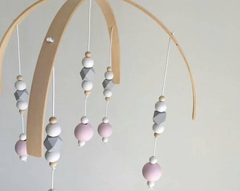 Pink,Raw Hex,Beads Baby Mobile