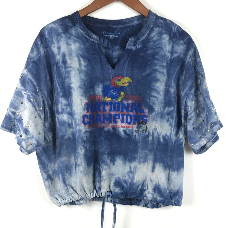 Kansas Jayhawks Shirt Large Gameday Tie Dye Rhinestone Silver Beaded Drawstring Crop 2008 National Champions