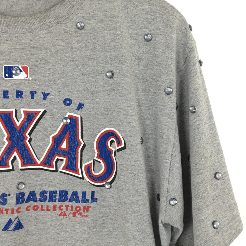 Texas Rangers Shirt Medium All Over Rhinestone Gameday Crop Drawstring Beaded VTG