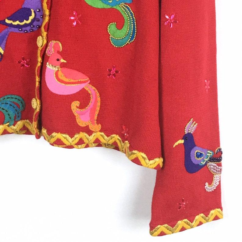 Michael Simon Vintage Christmas Cardigan Sweater XL Red Gold Bird Beaded Button