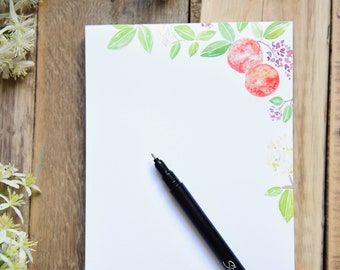 Watercolor Orange Notepad, 75 Pages, 5x7 Size, Everyday Notepad, Elegant Citrus Stationery, Orange Blossom Stationery,  Orange Stationary