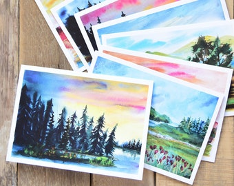 Set of 10 - Landscape Painting - Greeting Cards - Art Note Cards - 5x7 inches - Beautiful Country Cards - Watercolor Landscape Painting