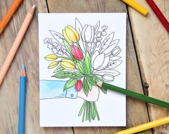 Set of 6 - Coloring Cards - Tulip Color Cards - Coloring Cards for Adults - Tulip Cards - Everyday Coloring Cards - Notecard Set  A2 Cards