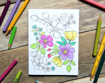Set of 6 - Coloring Cards - Flower Coloring Card Set - Everyday Card Set - A2 Sized Cards - Color It Yourself Cards - Multi Design Card Set